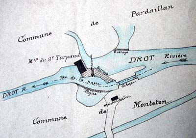 implantation du moulin du Drot